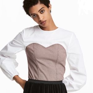 H&M checkered brown and white  corset blouse.